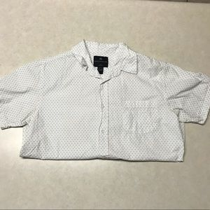 White Patterned Short Sleeve Button Down